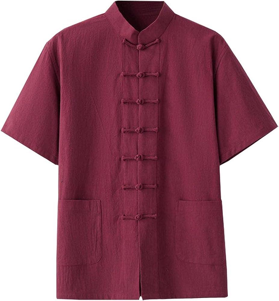 Kedera Men's Linen Cotton Mandarin Collar Short Sleeve Chinese Frog-Button Shirt Yoga Beach Tops