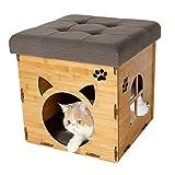 HQQ La Cama de Madera del Animal doméstico Puede acomodar los Muebles de la litera del Gato de la casa de Perro del Taburete Creativo Multifuncional (Color : Color Madera)