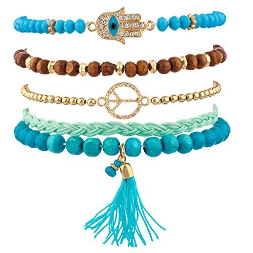 Lux Accessories Turquoise Pave Hamsa Evil Eye Peace Sign Love Tassel Arm Candy Bracelet Set