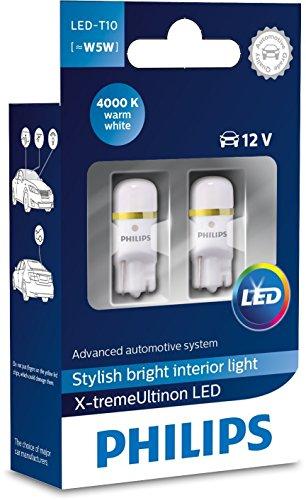 Philips X-tremeVision Illuminazione interna a LED per veicoli T10 LED [~ W5W], 12V, luce bianca calda 4000K
