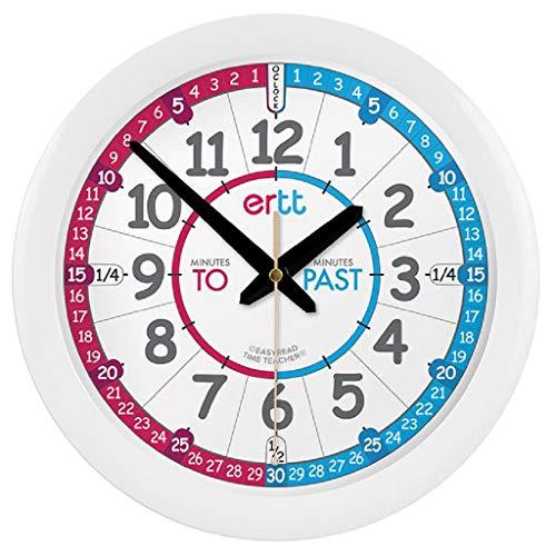 EasyRead Time Teacher ERC-RB-PT Rot Blau Kinder-Wanduhr zum Erlernen der Uhrzeit - Englisch