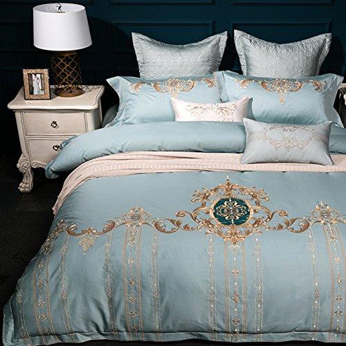 Private home textiles Funda nórdica Conjuntos de Ropa de Cama Colecciones de algodón Bordado Europeo Cuatro Sets-C Queen2
