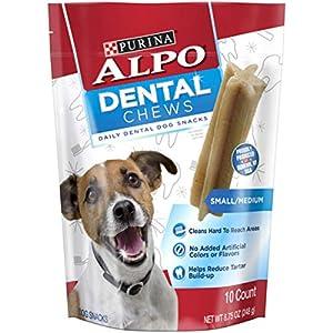 Purina ALPO Made in USA Facilities Small/Medium Dog Dental Chews, Dog Snacks – (5) 10 ct. Pouches