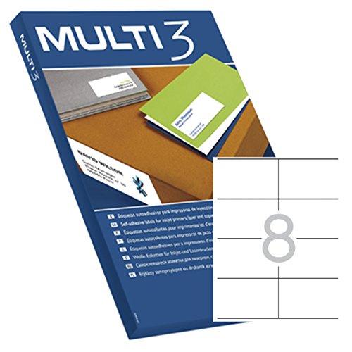 Etiquetas Adhesivas Multi3 Para Inkjet Laser Y Fotocopiadoras Cantos Rectos 100 Hojas 105 X 70mm