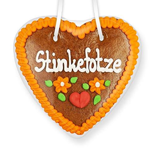 Lebkuchenherz 14cm - Stinkefotze | Scherzartikel für Party | Lustige Party Mitbringsel | Spaßgeschenke | Scherzartikel zum Geburtstag | Lustige Geschenkideen | Essbare Scherzartikel