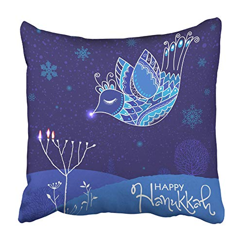 Emvency Throw Pillow Cover Cushion Case Decorative 18 x18 Inch Beautiful Blue Ornate Bird Lightening Menorah Candle Happy Holidays Pillowcase Two Sides Print Covers