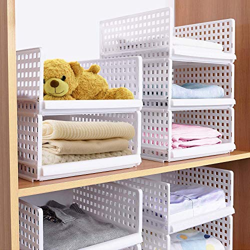 JingPeng - Juego de 4 organizadores apilables de plástico para armario, cesta para estanterías, perfecto para dormitorio y cocina