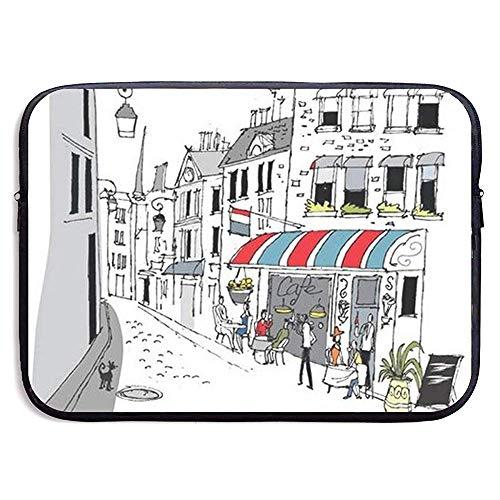 Tekening van een straat in Parijs A Cafe en The Street Lamp Laptop Sleeve Bag Draagbare Rits Laptop Tas Tablet Tas, 15 Inch
