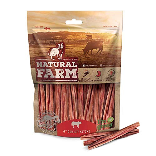 Natural Farm Made and Packaged 6-Inch Long Gullet Sticks 25-Pack, One Ingredient Best Beef Chews - Fully Digestible, Promotes Joint & Dental Health,...