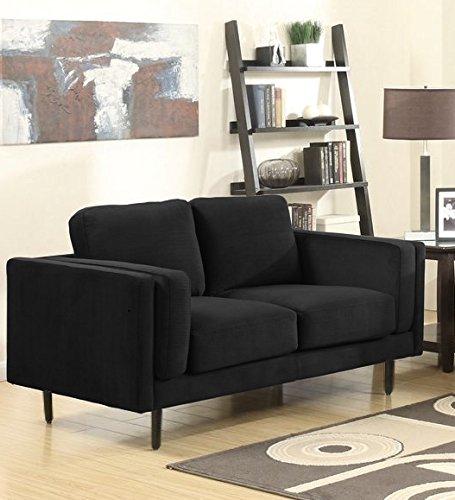 SEDEX NEAPEL Sofa 2-Sitzer Couch Garnitur Polstergarnitur Kunstleder - schwarz