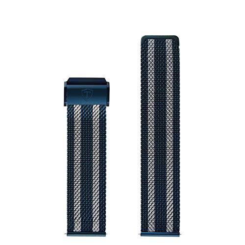 DETOMASO Uhrenarmband Milanaise Edelstahl-Armband 20mm 22mm 24mm mit Schnellwechsel Federsteg (22mm, Milanaise - Blau/Silber)