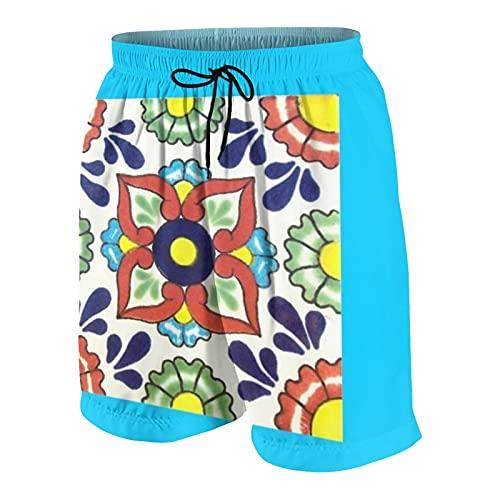Talavera - Bañador para hombre, diseño de azulejos de verano, surf, playa, pantalones cortos de secado rápido con bolsillos, Multicolor, XL