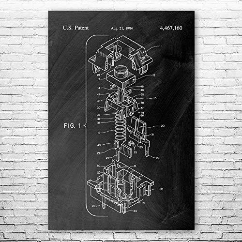 Cherry MX Keyboard Switch Poster Print, Computer Lab Art, Programmer Gift, Hardware Wall Art, IT Tech Gift, Patent Print