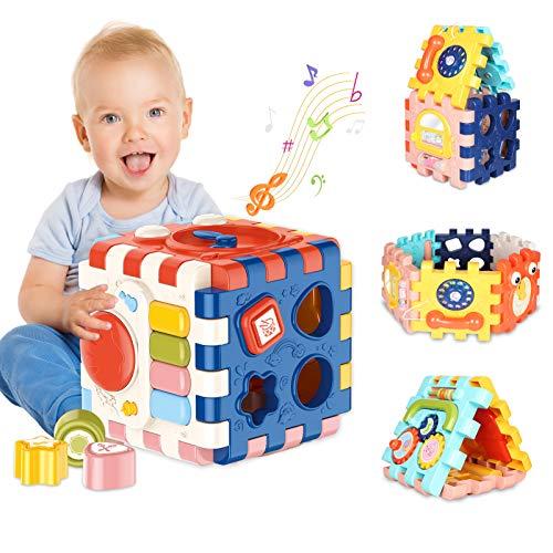 ATCRINICT Música Cubo de Actividades, 6 en 1 Incluye Caja de música Bloques Reloj Habilidades Motoras Juguetes educativos con luz de Sonido de 1 Años Regalo para bebés Niños