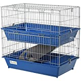 Pawhut Double Tier Small Animal Cage Rabbit Guinea Pig Chinchillas Cage w/Ramp Food Dish Water Bottle Deep Trays Pet Home 72 x 44 x 67 cm