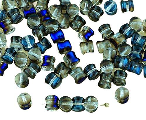 60pcs Cristal Claro de Azul Celeste Metálico la Mitad PRECIOSA Bolita de...