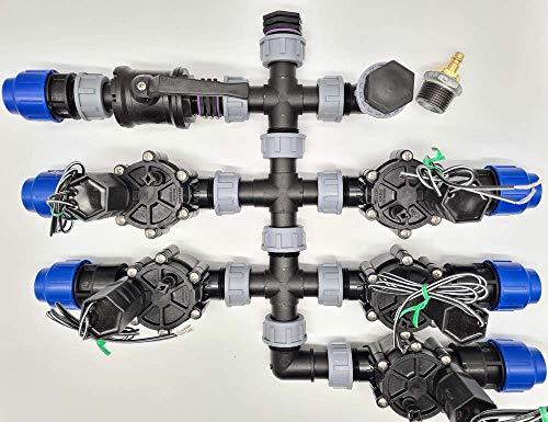 Vormontierter 5 Zonen Verteiler inkl. Rain Bird Magnetventile Bewässerung für Ventilbox, Anschluss Pe-Rohr 25 mm