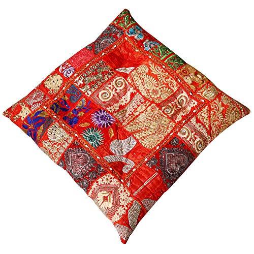 Casa Moro Orientalisches XXL Patchwork Sitzkissen Manju Rot 55x55 cm x Höhe 10cm quadratisch mit Füllung   Indisches Yogakissen Couchkissen Zierkissen Boho Style   MA2303