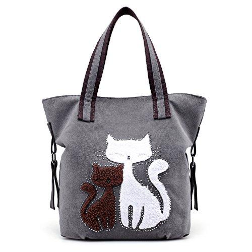 Hiigoo Lovely Canvas Cat Tote Bag Casual Handbag Shopping Bag Shoulder Bags Large Totes (Grey)