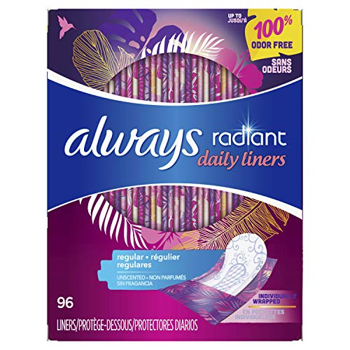 Always Radiant Daily Feminine Panty Liners for Women, Regular Absorbency, Unscented, Wrapped, 96X4, 384 Count (Pack of 4)