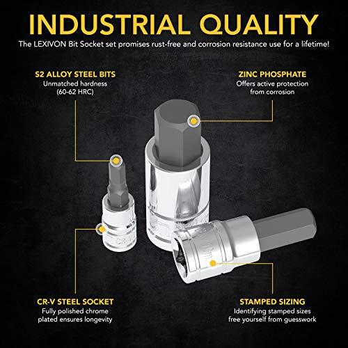 LEXIVON HEX Bit Socket Set, Premium S2 Alloy Steel | 13-Piece Metric 2mm - 14mm Set | Enhanced Storage Case (LX-141)