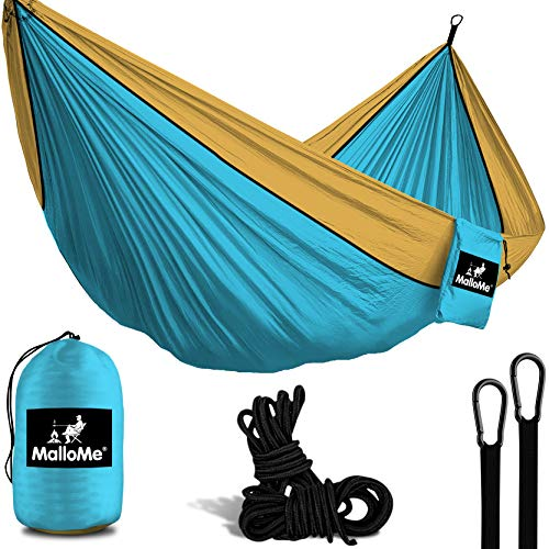 MalloMe Hammock Camping Portable Double Tree Hammocks - Outdoor Indoor 2 Person Beach Accessories Ð Backpacking Travel Equipment Kids Max 1000 lbs Breaking Capacity - Two Carabiners Free