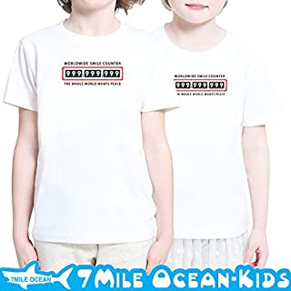 7MILE OCEAN 半袖 プリント キッズ ガールズ 子供服 男の子 女の子 ジュニア スマイル 笑顔 オモシロ 90 100 110 120 130 140 150 160 ペアルック 110 ASHGREY gsvmkids0163