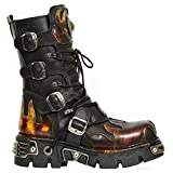 New Rock 591-S1 Red Flame Boots Metal Black Leather Heavy Punk Gothic Boots 38