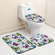 MANNUOSI Nuevo Alfombrillas de baño Suave Antideslizante alfombras de baño Mariposa 3 Piezas Alfombra de Contorno en Forma de U y Cubierta del Asiento del Inodoro