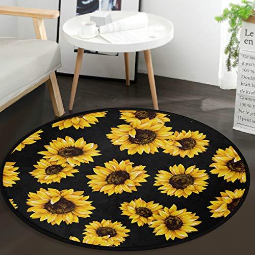 Vdsrup Beautiful Floral Sunflower Doormat Tropical Daisy Poppy Round Floor Mat Non Slip Carpet Yoga Mat Rug for Entryway Living Room Bedroom Home Decor 3'
