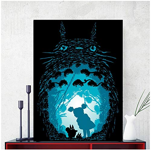 Spirited Away Forest Spirits Poster Art Canvas Poster Living Room Home Decoración de la pared Imprimir en lienzo -60x80cm Sin marco