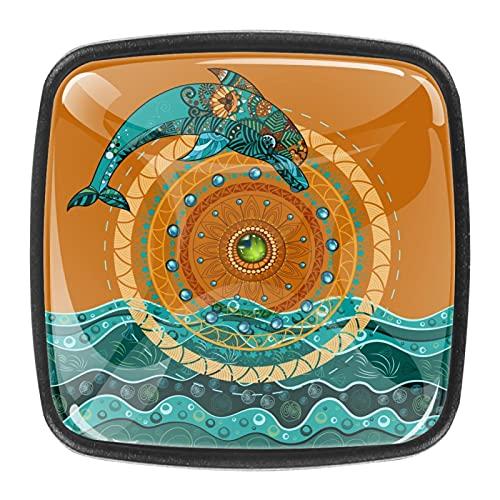 Manopole per cassetti e cassetti, con pomelli in cristallo e viti, per armadietti, casa, ufficio, credenze, delfini etnici, 35 mm, 4 pezzi