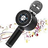 Reproductor de micrófono inalámbrico Bluetooth Karaoke con luces LED, máquina portátil portátil de altavoces de karaoke recargable, compatible con PC con Android iOS (Black)