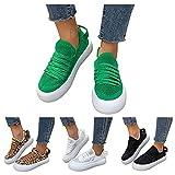 Dasongff Zapatillas deportivas para mujer, de malla, transpirables, con estampado de leopardo, plataforma, para el tiempo libre, para correr, para el tiempo libre, planas, con cordones, de tela