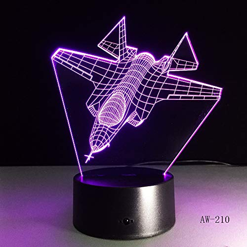 Airplane night light remote control touch fighter desk lamp light color change indoor light as a child gift toy