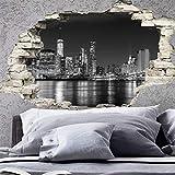 Adesivo Effetto 3D| Stickers Skyline di New York - Decorazione da pareti camere e soggiorni - 60 x 90 cm