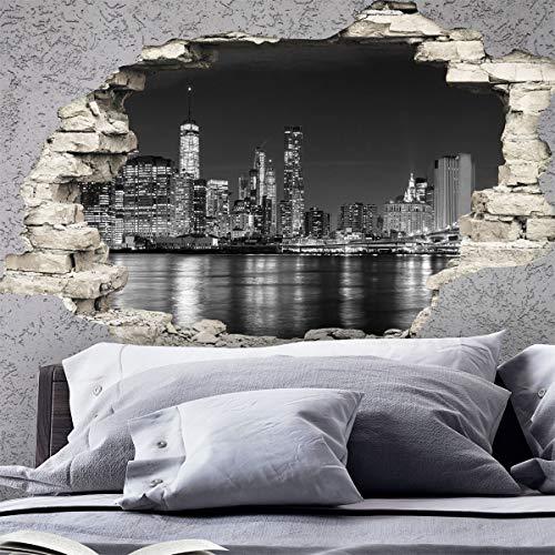 Sticker 3D Effekt | Wandaufkleber New York Skyline - Tapete Dekoration optische Täuschung Raum und Wohnzimmer | 60 x 90 cm