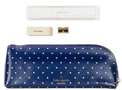 Kate Spade New York Pen and Pencil Case, Zipper Pouch Organizer for Office/School Supplies, Larabee Dot Navy