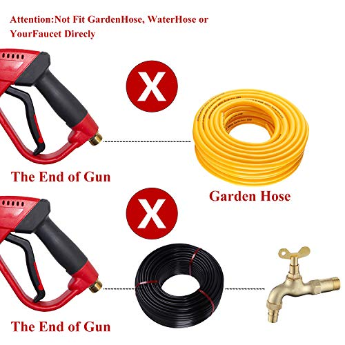 Hourleey Pressure Washer Gun, Red High Power Washer Gun with Replacement Wand Extension, 5 Nozzle Tips, M22 Fittings, 40 Inch, 5000 PSI