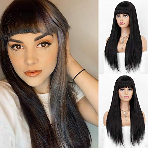 K'ryssma Straight Black Wig with Bangs Black Straight Long Synthetic Wig for Women 18 Inches