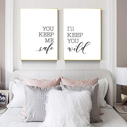 NFXOC Póster de Pared Art Minimalista Pintura en Lienzo You Keep Me Safe I'Ll Keep You Wild Cita Impresión Rústica Amor Pareja Decoración de Pared (50x70cm) 2pcs Sin Marco