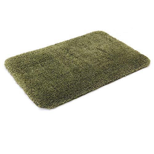 30X20 Inch Bathroom Shower Mat with Super Slim Polyester Fabric Anti Slippery Bath Rugs Which is Machine Washable and Water Absorbent Fuzzy Mat,Green