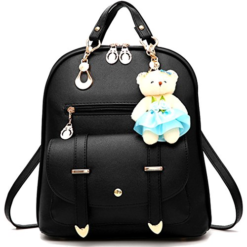 Backpack Purse for Women Large Capacity Leather Shoulder Bags Cute Mini Backpack for Girls,Black