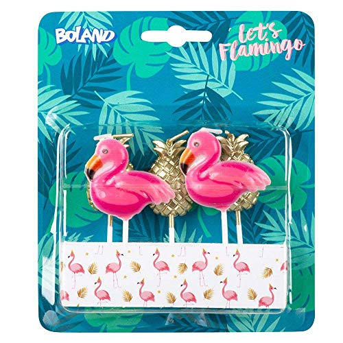 Boland 52564 – Velas de flamenco, piña, 5 unidades, velas de cumpleaños, minivelas, para tartas, pincho de pincel, rosa, dorado, tartas, cumpleaños, guardería, decoración, regalo, fiesta de jardín