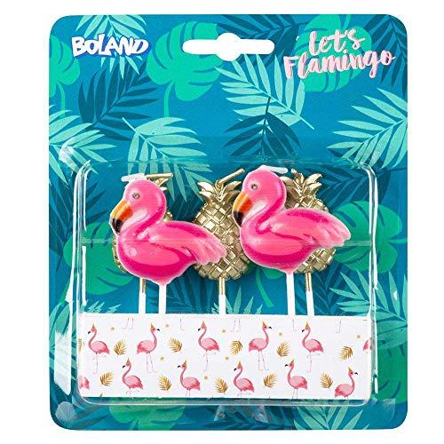 Boland 52564 - Kerzen Flamingo Ananas, 5 Stück, Geburtstagskerzen, Minikerzen, Tortenkerze, Stecker, Spieß, Pink, Gold, Kuchen, Geburtstag, Kindergarten, Dekoration, Geschenk, Gartenparty