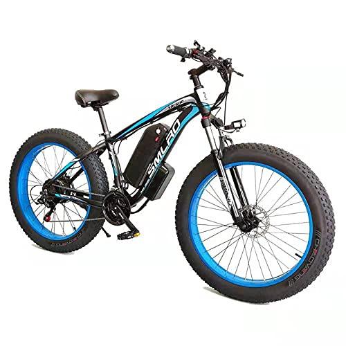 ZOSUO Herren E-Bike Elektrofahrrad Alu 26 Zoll Mit Shimano 7-Gang-Getriebe Pedelec Trekkingrad Mit Motor 1000W 48V15AH Akku Lithium-Schneemobil Strandfahrrad,Blau