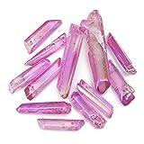 TENGGO 50g de Gran Alcance y Raro Purple Aura Lemurian Semilla de Cristal de Cuarzo Punto 12-15pcs