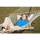 The Garden Hammocks® Hamaca de cuerda cómoda de algodón orgánico (GOTS) doble extra ancha (1,5 m de ancho x 4 m de longitud total) sin soporte, barras de madera FSC, capacidad de peso de 450 libras