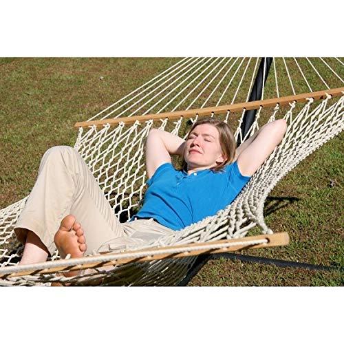 The Garden Hangmatten® Comfortabele Slaapbank Organisch Katoen (GOTS) Touw Hangmat Tweepersoons (60