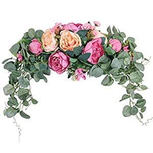 SHACOS Artificial Peony Flower Swag Floral Swag Door Swag for Home Wedding Wall Door Decoration